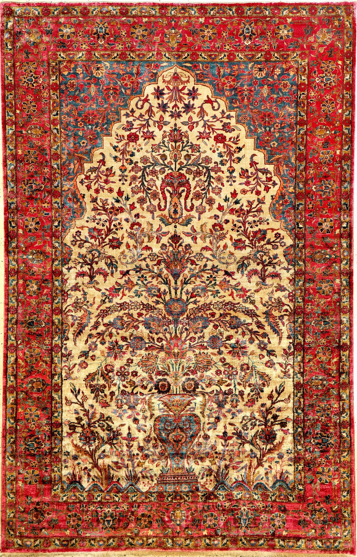Kashan Rug Central Persia Late 19th Century Pure Natural Silk Rox