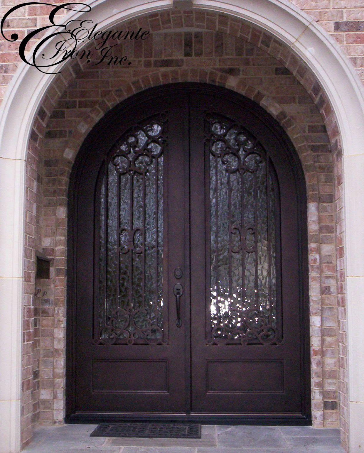 Custom wrought iron door full arch double doors pinterest custom wrought iron door full arch rubansaba