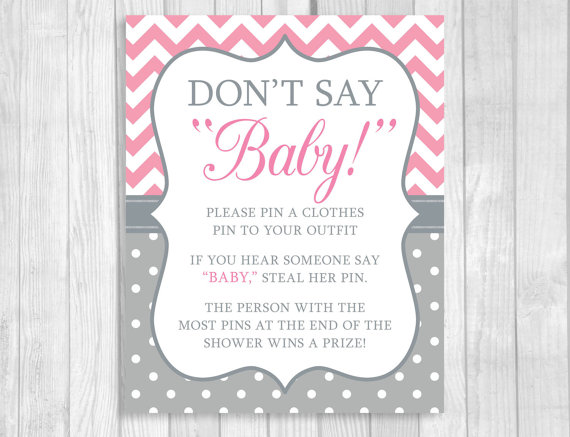 graphic relating to Don T Say Baby Game Printable named Printable Dont Say Kid 8x10 or 5x7 Garments Pin or Pacifier