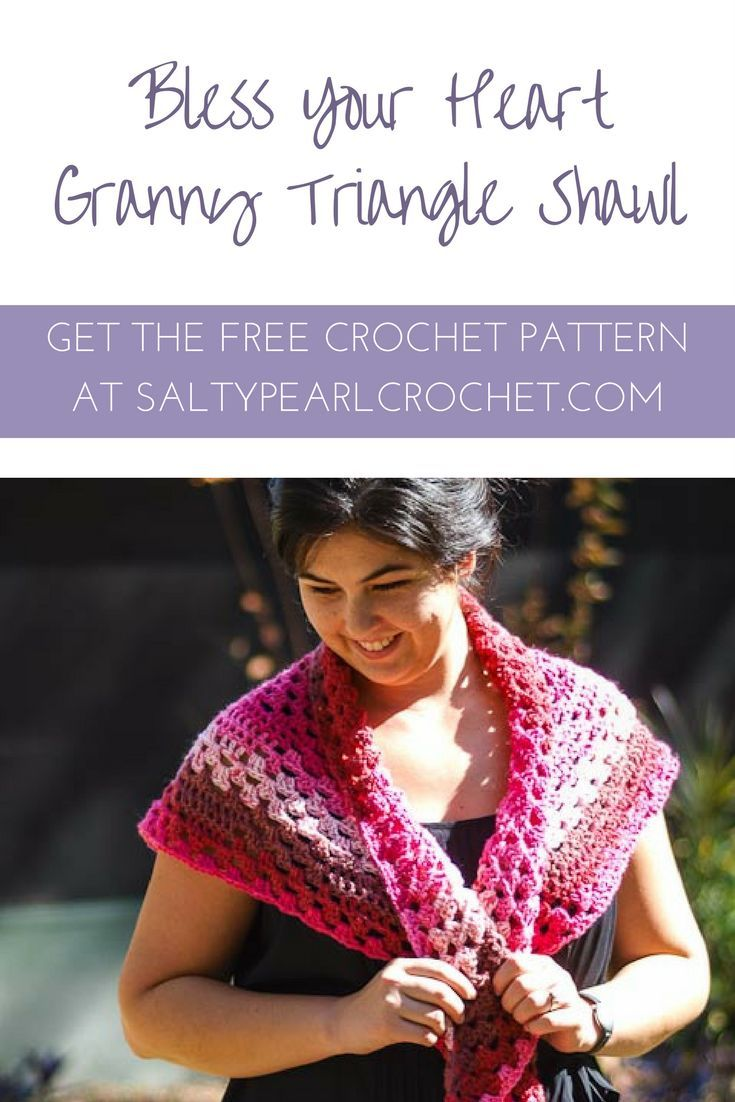 Free crochet Pattern: Bless Your Heart Granny Triangle Shawl. This ...