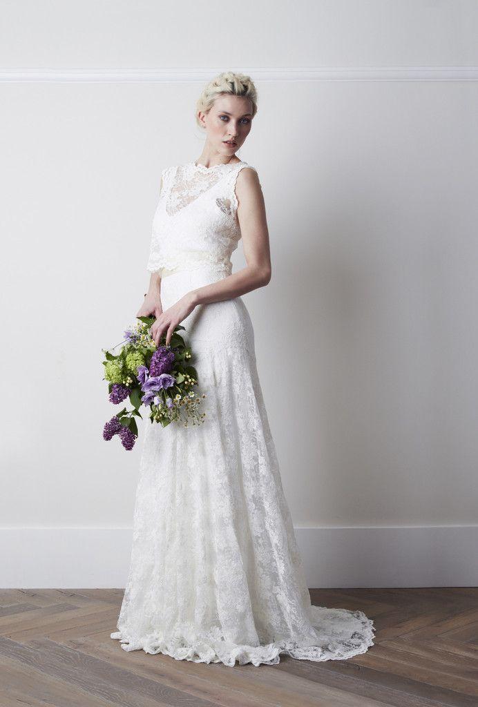 illusion bateau neck sleeveless ivory lace a-line wedding dress ...