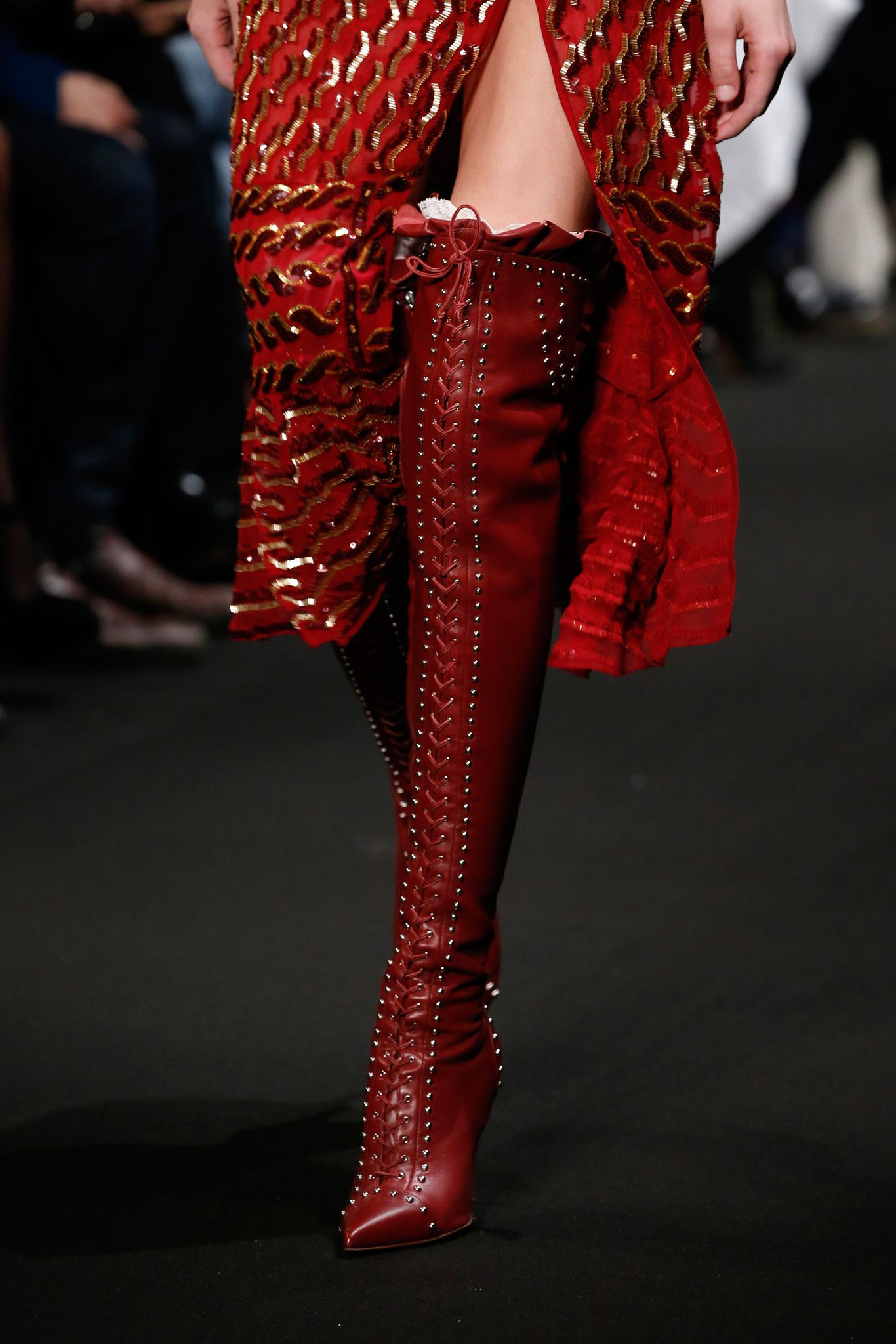 redboots porn 2015 Altuzarra thigh high red victorian Runway Porn: The Best Accessory of  the Day -