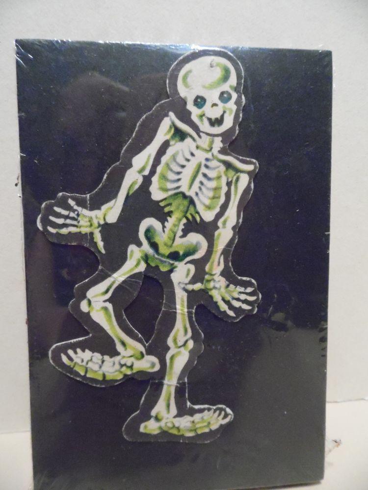 Vintage Halloween Paper Die Cut Happy Dancing Skeleton Decoration 1950s USA