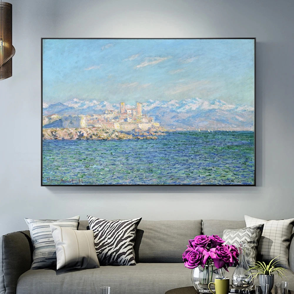 Famous Artists Claude Monet Wall Art Antibes Afternoon Effect Painting Fine Art Canvas Giclee Print Nor Landscape Wall Art Art Gallery Wall Wall Art Pictures