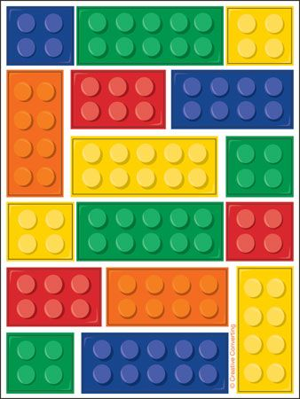 Kids Lego Block Party Brick Stickers 4 Sheets Party Loot Bag Fillers Decorations