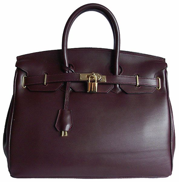 Carbotti Designer Style Burgundy Leather Handbag