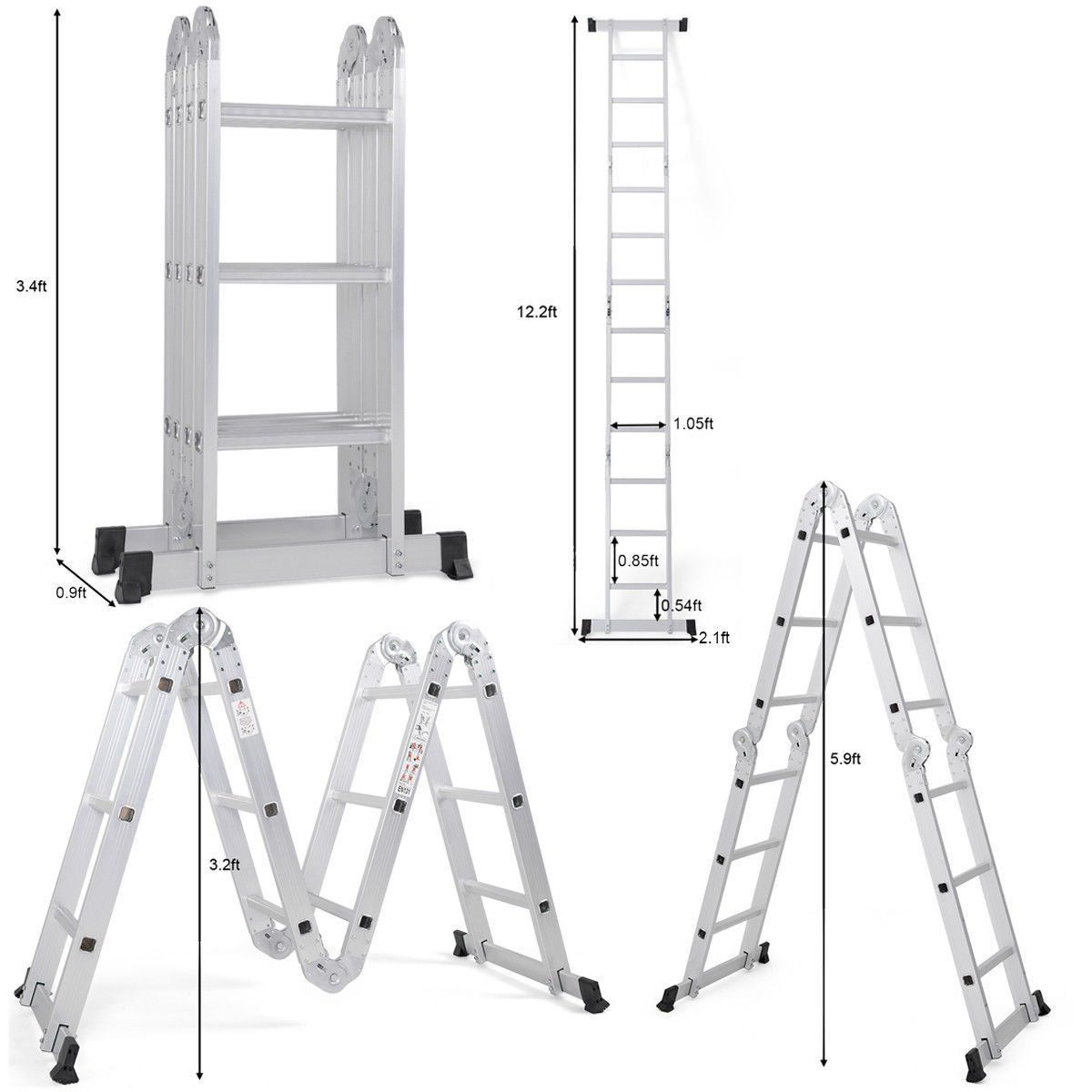 12 5ft En131 330lb Multi Purpose Step Platform Aluminum Folding Scaffold Ladder See The Picture Link Even More Details Scaffold Ladder Ladder Scaffolding