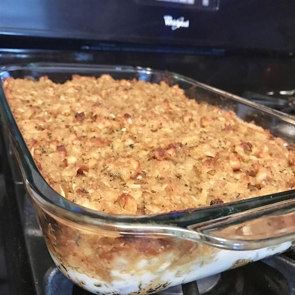 Rotisserie Chicken and Stuffing Casserole #chickenanddressing