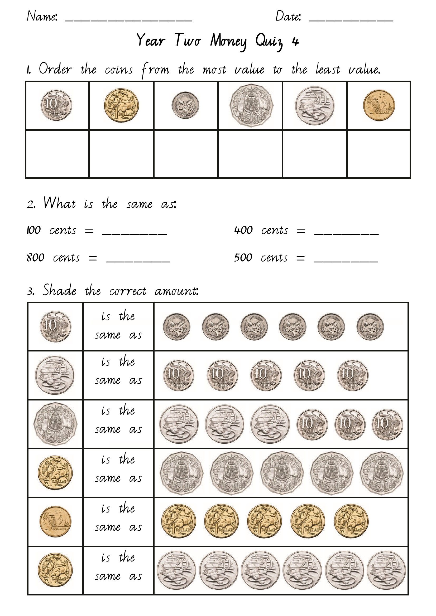 hight resolution of money Year 2.pdf   Teaching money