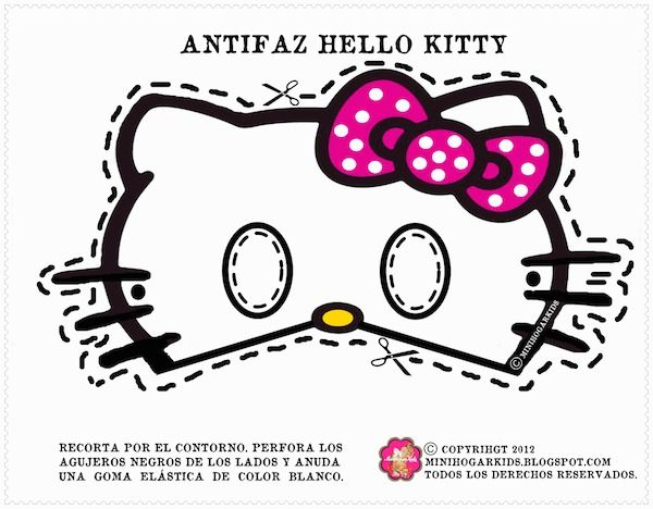 Free printable masks for kids hello kitty mask for Hello kitty mask template