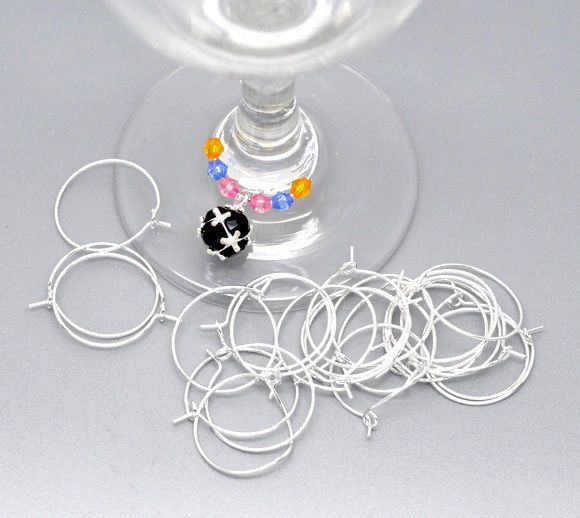 200 Pcs Silver Plated Wine Glass Rings truly only 20mm diameter (listed as 25mm), $5.68 2/22/16