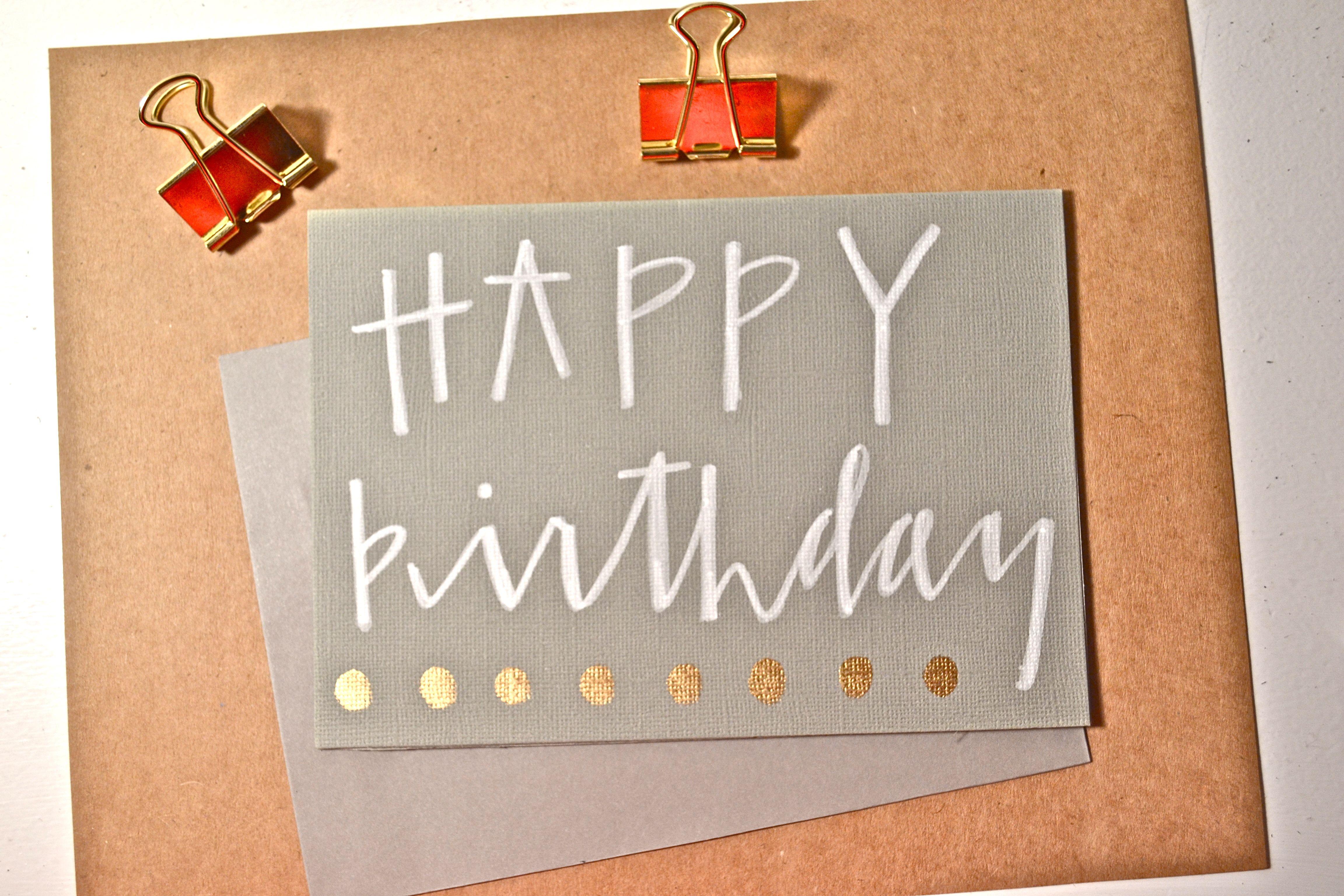 Modern calligraphy quot happy birthday card