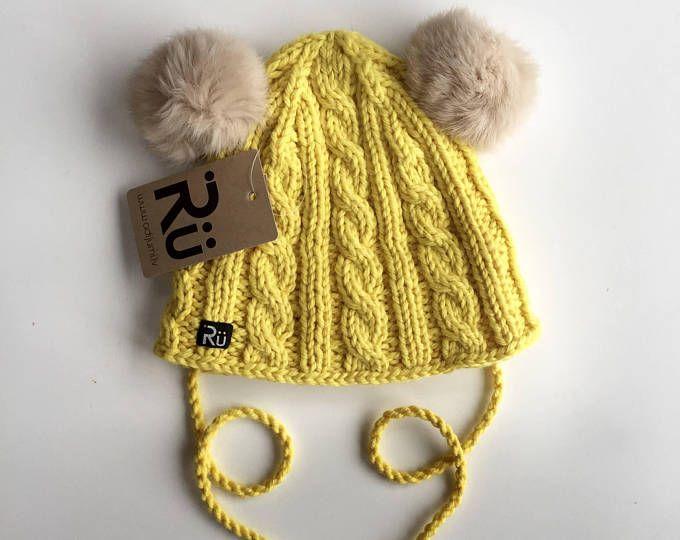 27dfdf9981b03 Yellow hat Double pom pom beanie Hat with ears Knitted women winter hat  Bear ears Natural fur pom pom hat with ears Warm hat Winter beanie