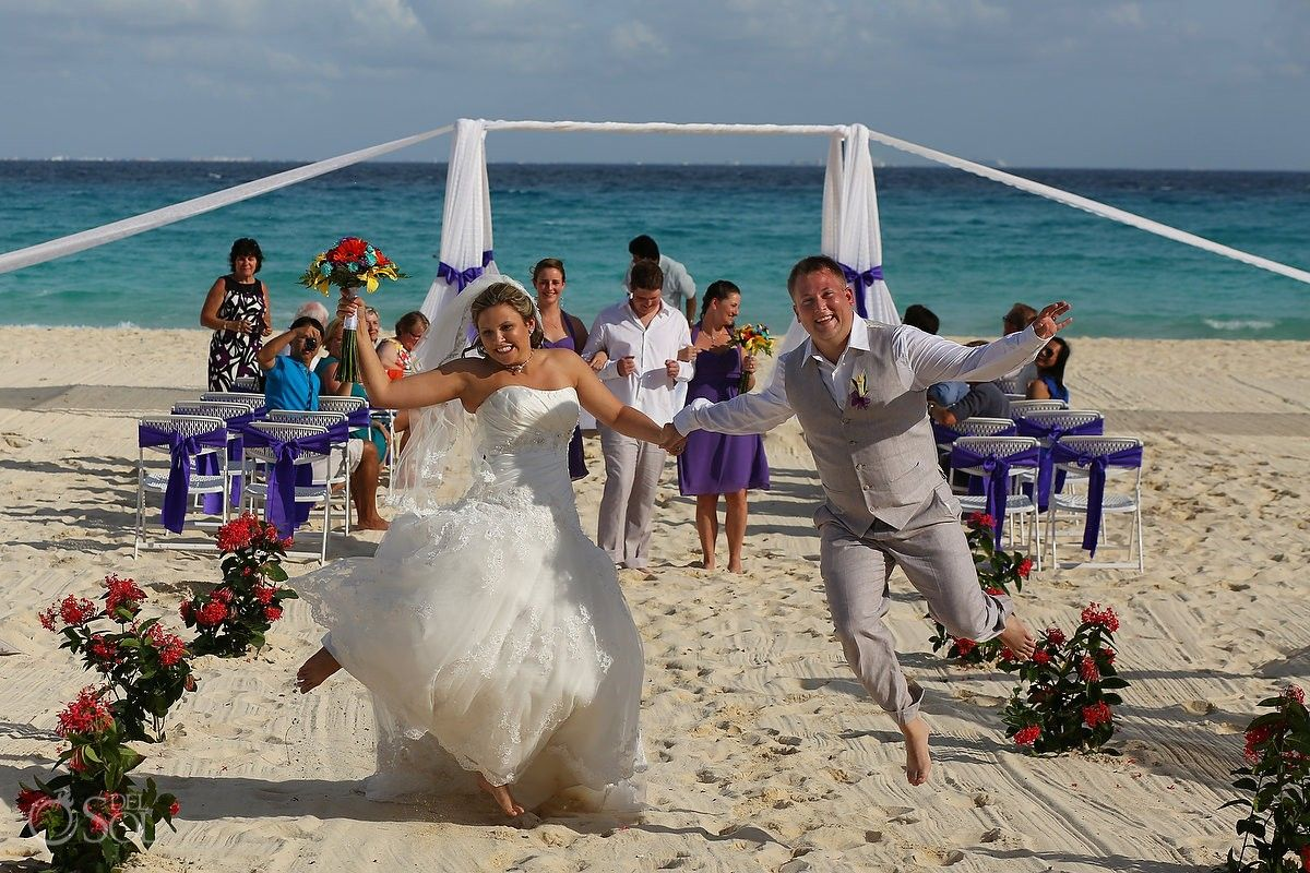 Playa Del Carmen Beach Wedding Sandos Playacar Hy Newlyweds Jump For Joy Mexico Photographers Sol Photography