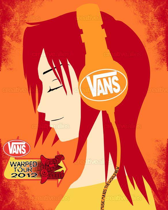 7c932257f7 By Erin Schauer for the 2012 Vans Warped Tour poster design contest ...