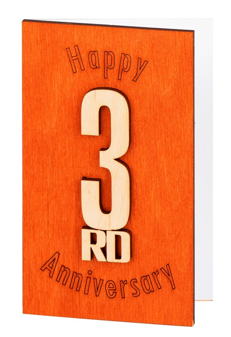 3rd Anniversary Card Third Gift 3 Wedding