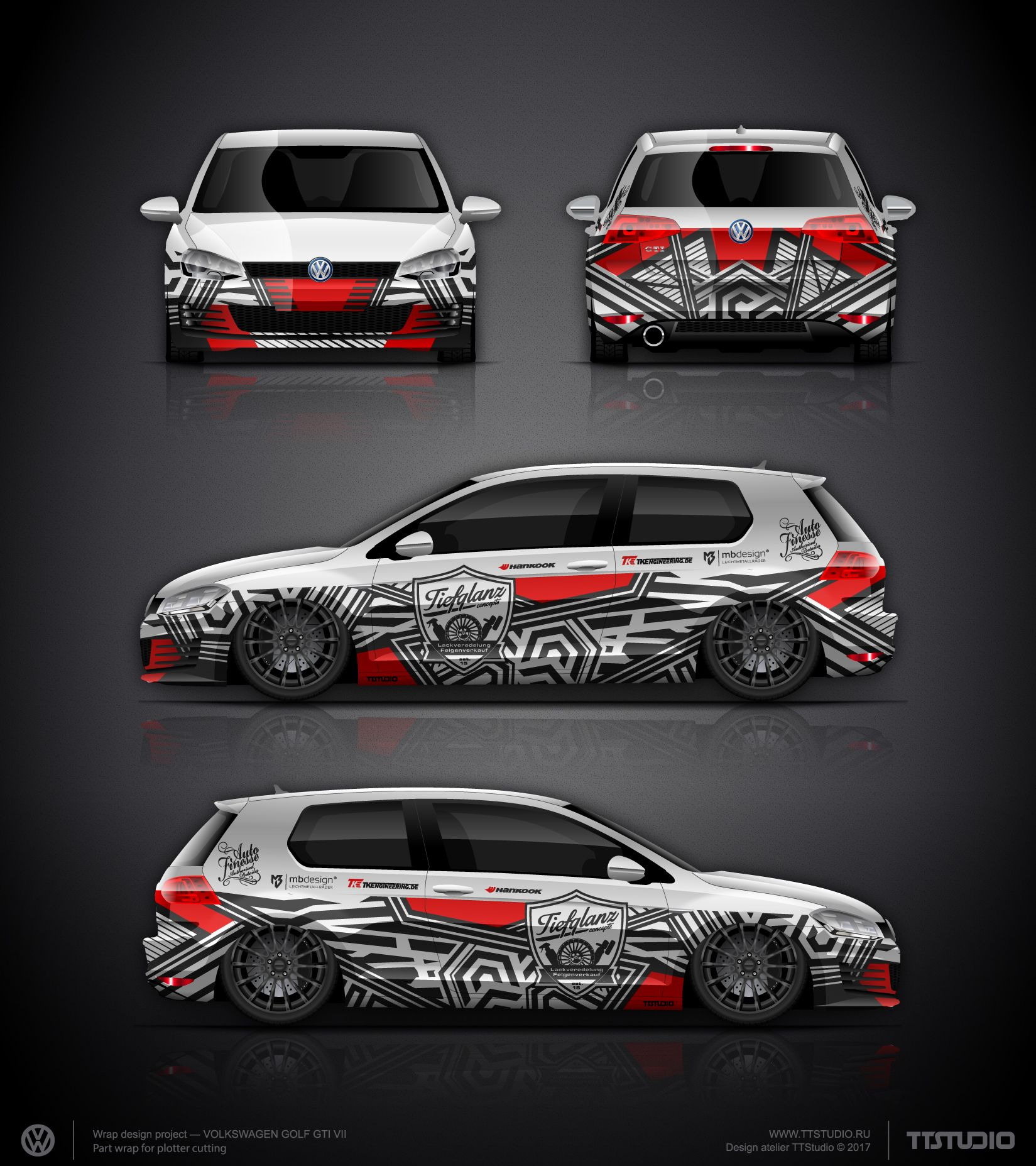 The Approved Tiefglanz Concepts Part Wrap Design Project For Golf - Racing car decals designpng race car wraps pinterest cars