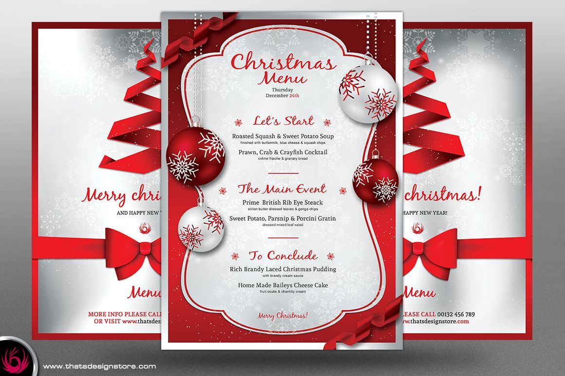 christmas menu template v4 by thats design studio on creative market