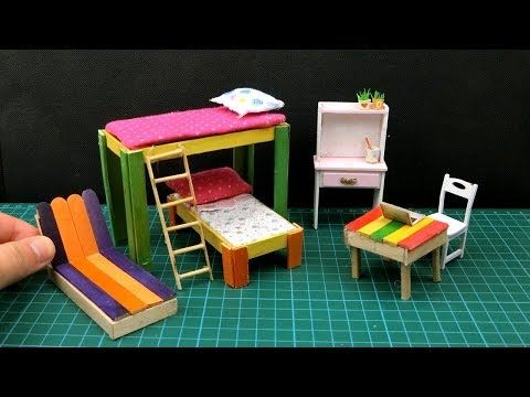 Photo of DIY Miniature Bedroom – Popsicle Stick BunkBed & Furniture #22