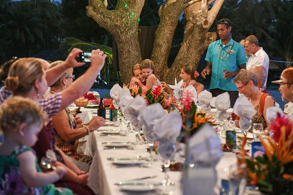 Reception of the wedding by the beach.  Photographed at Plantation Island Resort in Fiji by Anais Photography. see more on website.