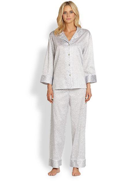 aa329bf0c1  170 NEW NATORI GRAY LEOPARD PRINT COTTON PAJAMAS SET TOP BOTTOM WOMENS SZ  XL  Natori  PajamaSets