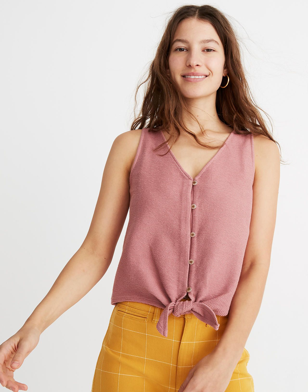 cb256e01696 Texture & Thread Button-Front Tie Tank Top in hthr bloom image 1 ...