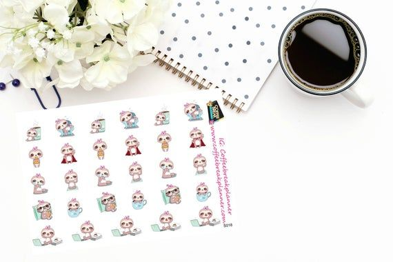Planner Stickers |Cute Sloth Stickers|Cute Sloth Sampler|Daily Activity Stickers|For use in a wide v #cutesloth