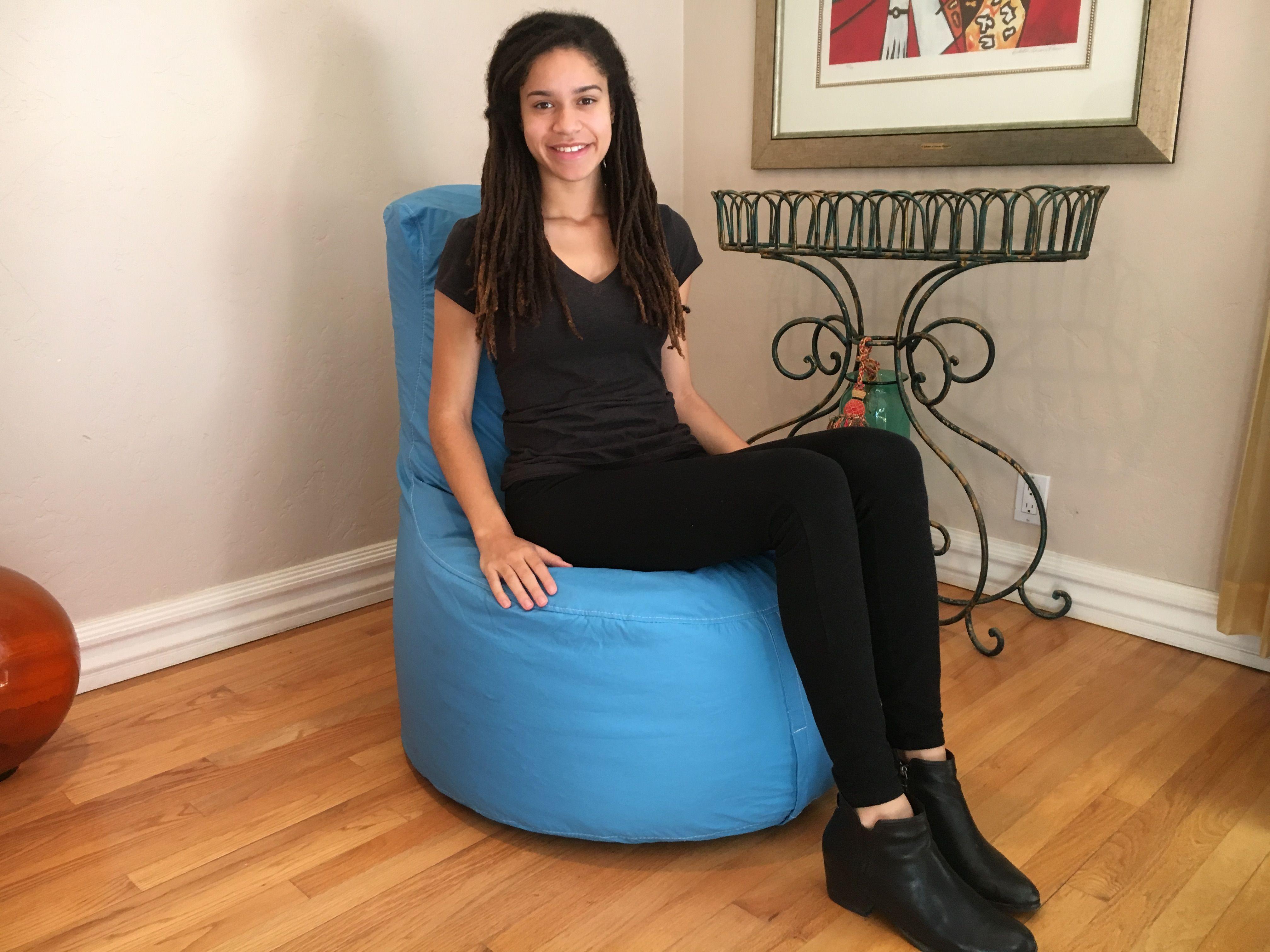 Sensational Adult Tech Leather Bean Bag Chair In Sky Blue Hip Chik Frankydiablos Diy Chair Ideas Frankydiabloscom