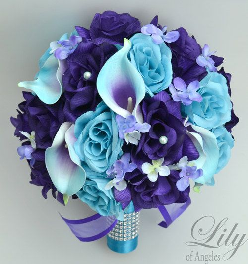 17 Piece Package Wedding Bridal Bouquet Silk Flowers Bouquets Maid Bridesmaid PURPLE TURQUOISE MALIBU Blue Calla