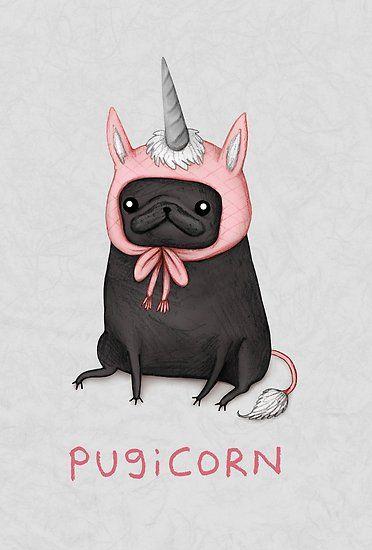 'Pugicorn' Poster by Sophie Corrigan