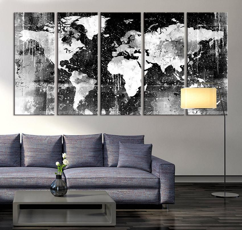 Canvas print black and white world map wall art ready to hang canvas print black and white world map wall art ready to hang large wall gumiabroncs Choice Image