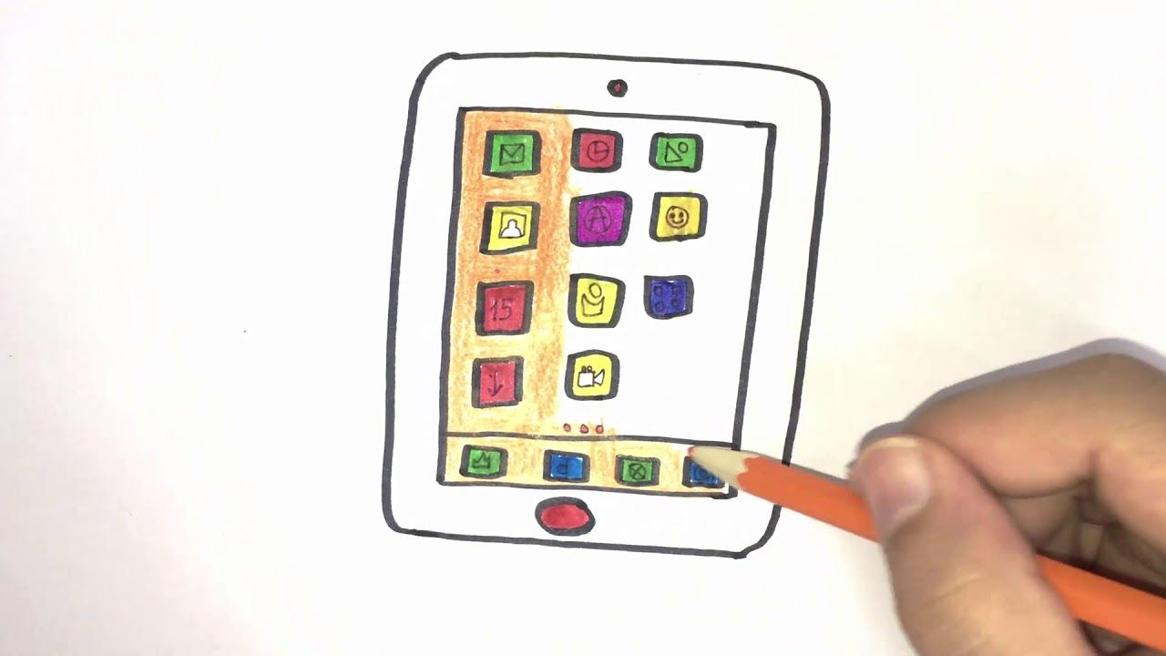 Tablet PC For Kids Drawing And Coloring With Colored Markers
