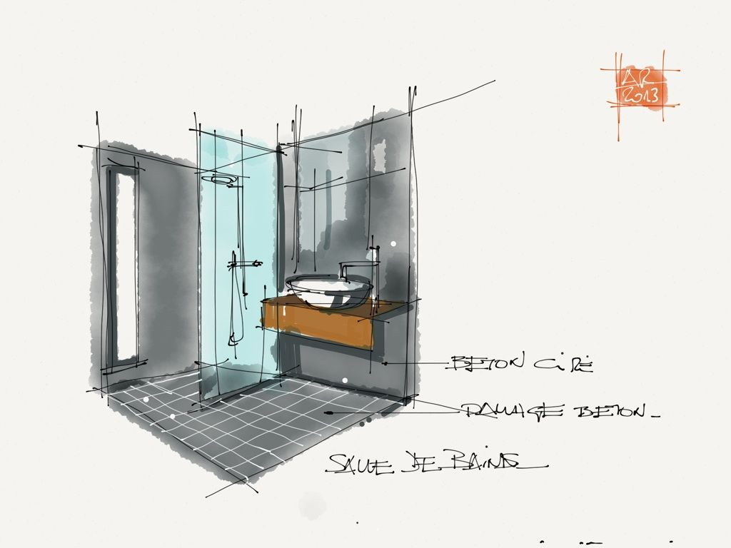dessin salle de bain architecture interior design. Black Bedroom Furniture Sets. Home Design Ideas
