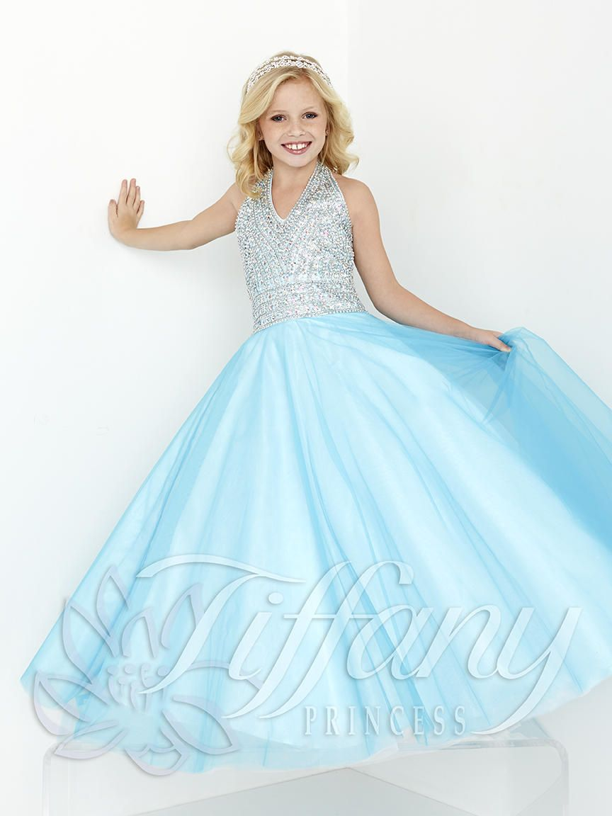 Give your daughter a precious Tiffany pageant girls gown with halter ...
