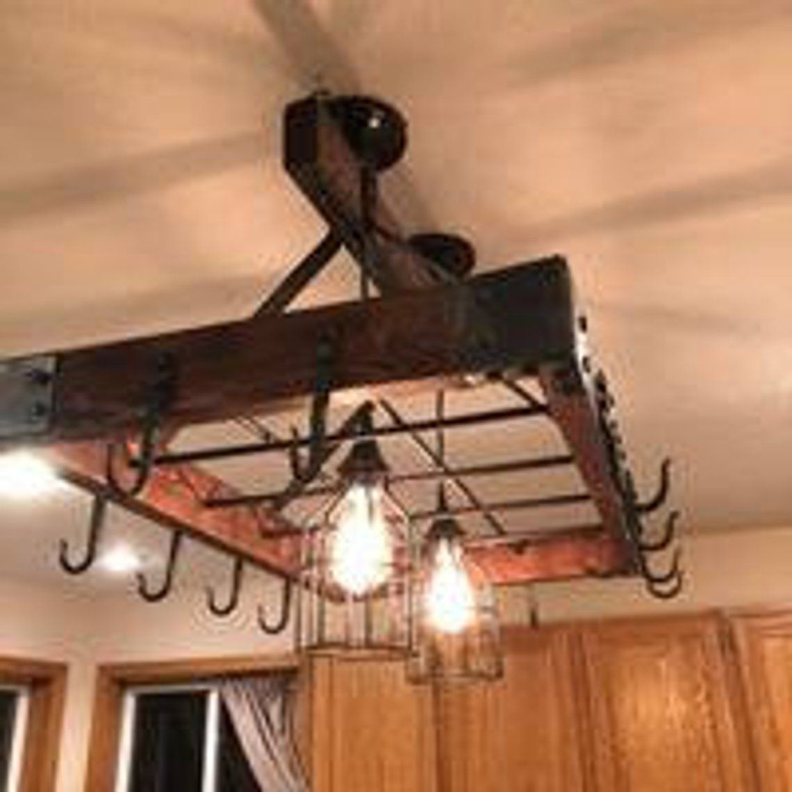 Forged Industrial Themed Hanging Pot Rack Etsy Pot Rack Hanging Hanging Pots Pot Rack Light