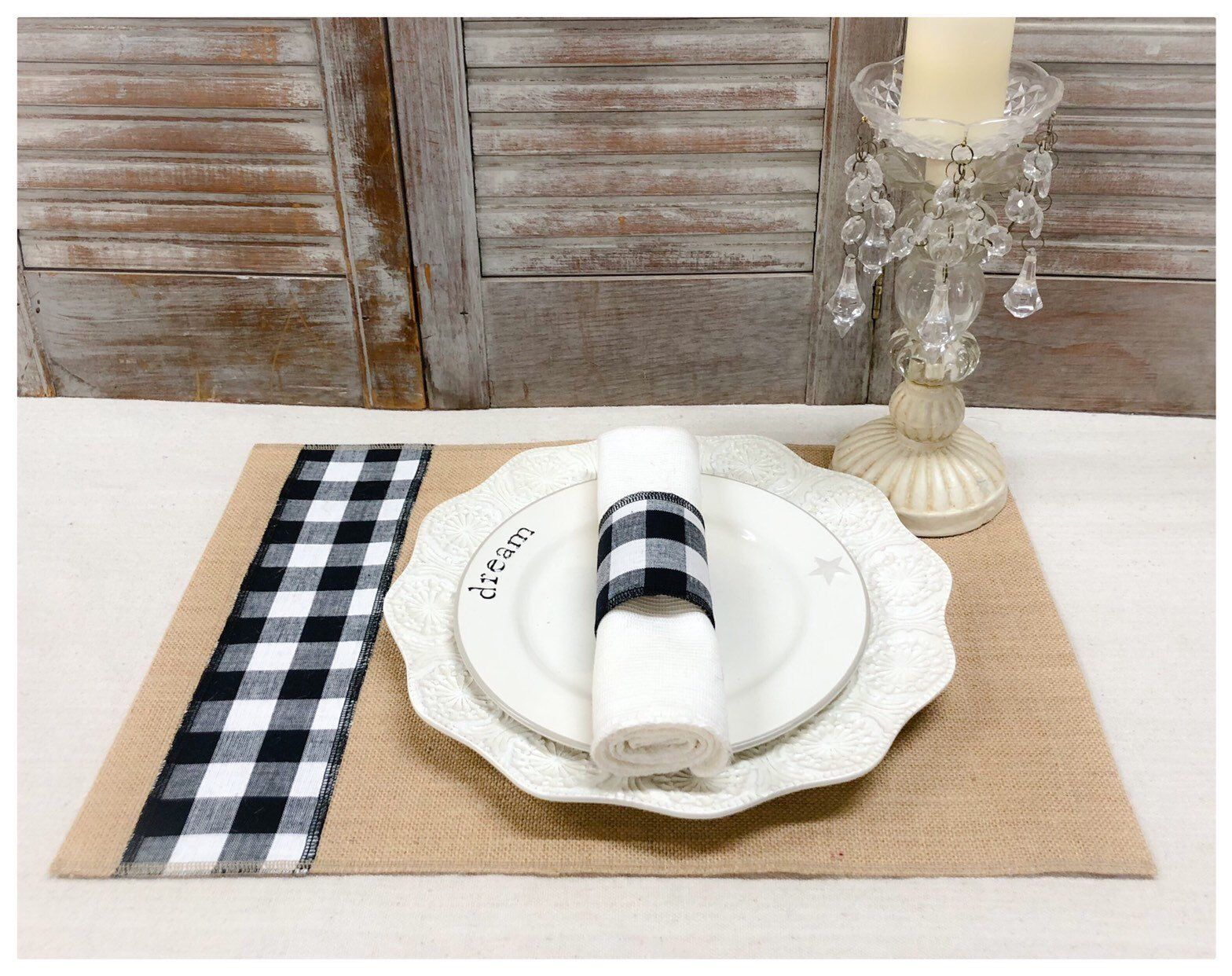 Burlap Placemat Sets With A Strip Of Black White Buffalo Etsy Burlap Napkins White Table Settings Placemats