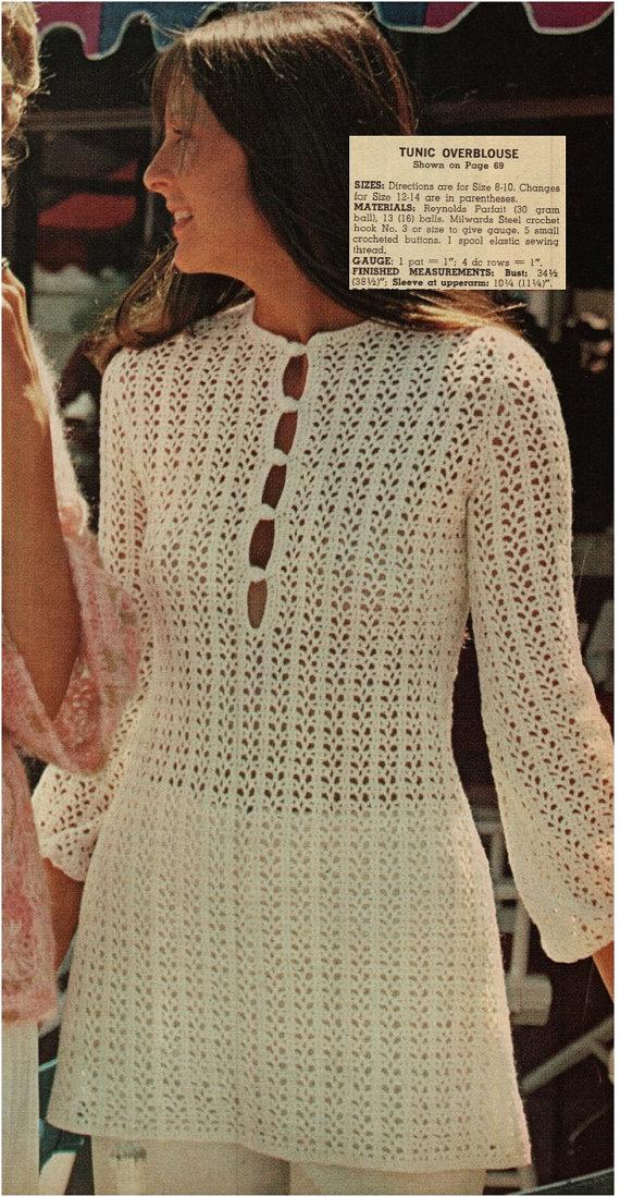 Patron pdf de tejido en crochet vestido de los anos 1970s