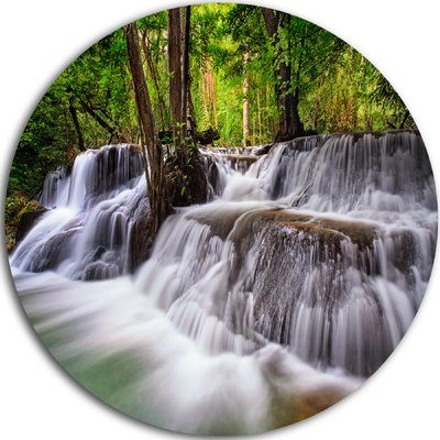 "DesignArt 'Waterfall Huai Mae Kamin' Photographic Print on Metal Size: 23"" H x 23"" W x 1"" D"