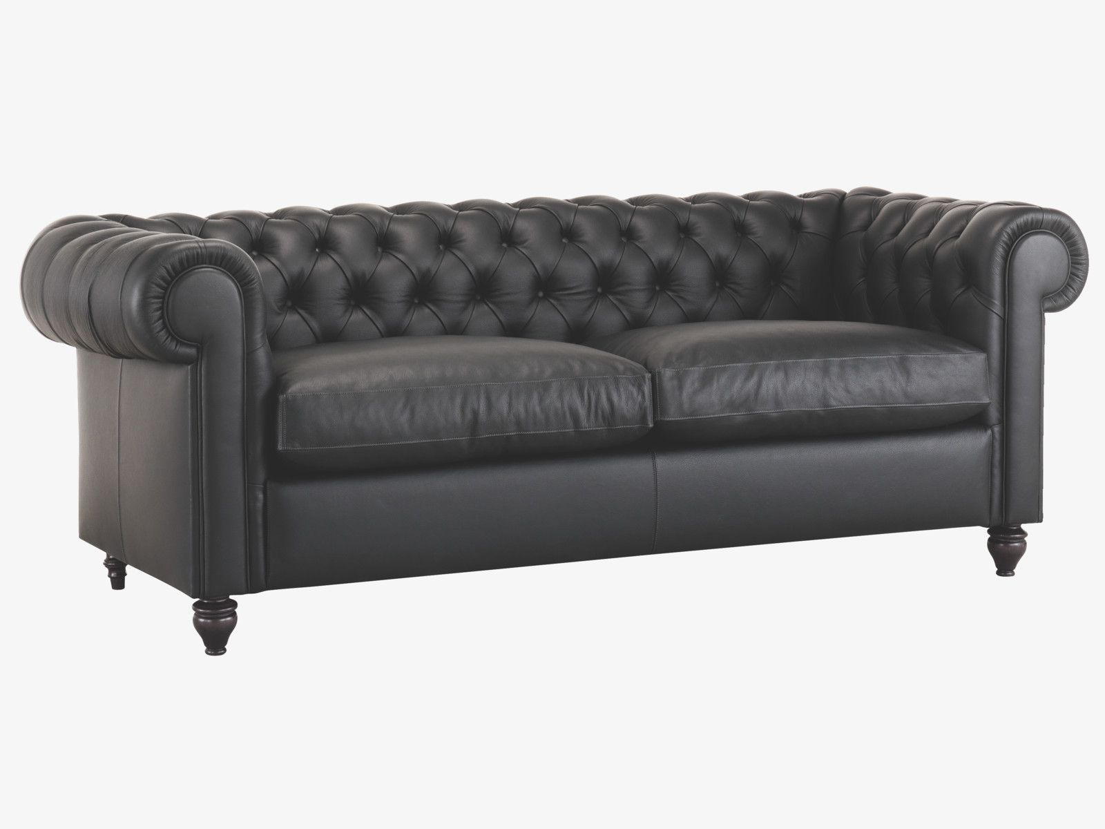 Chesterfield Ii Black Leather 3 Seat Sofa Sofas
