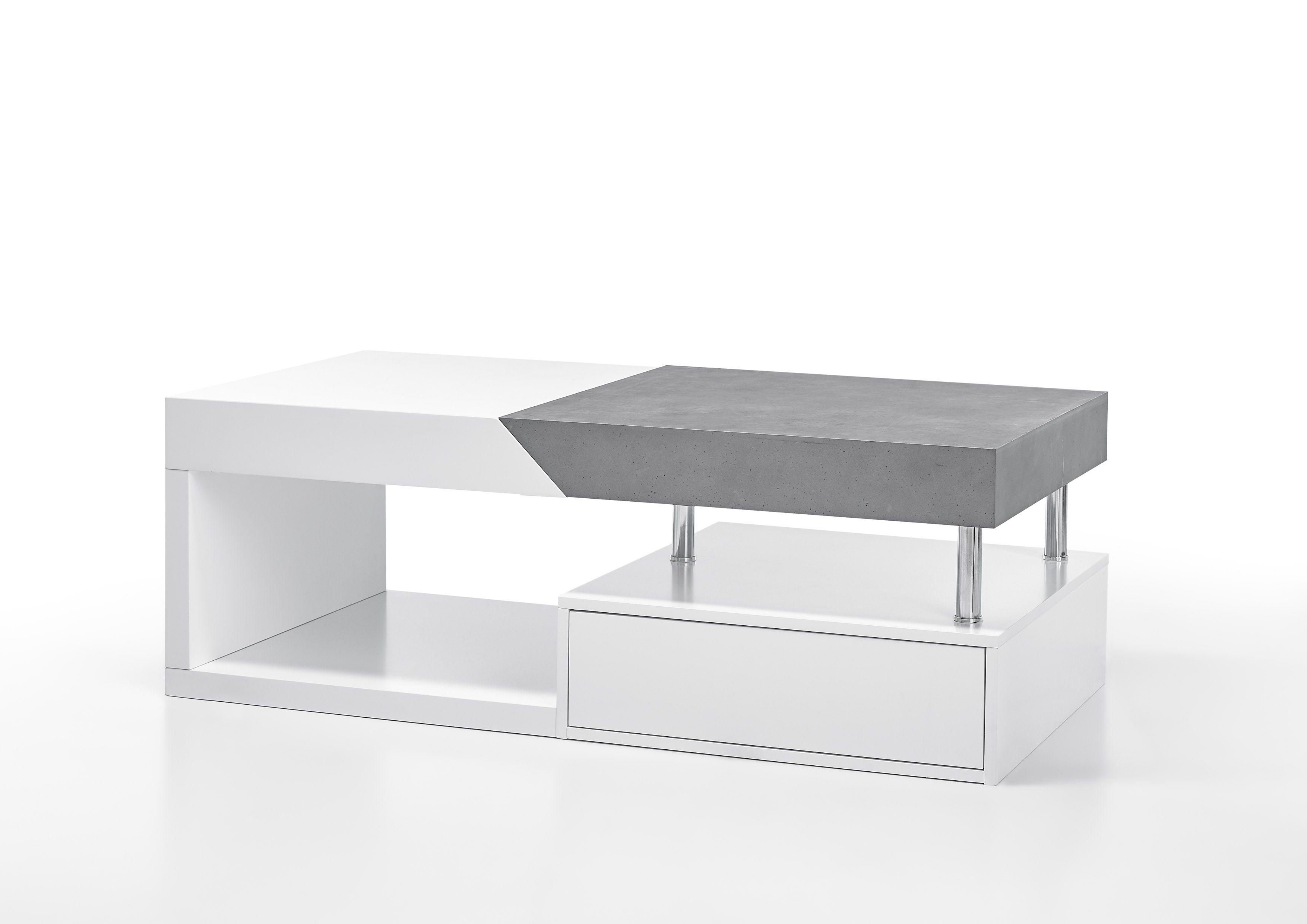 couchtisch weiss/ beton optik woody 41-02874 weiss/ grau mdf modern