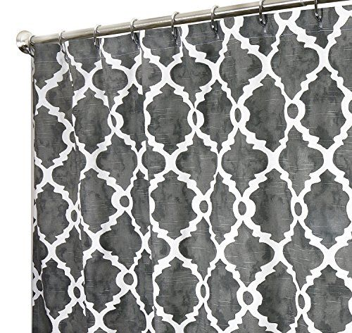 Extra Long Shower Curtain Designer Fabric Gray Print Hand