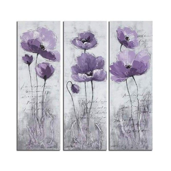 Safavieh art2011 18 x 31 purple poppy 3 painting purple white home 217 ❤ liked on polyvore featuring home home decor wall art paintings wall