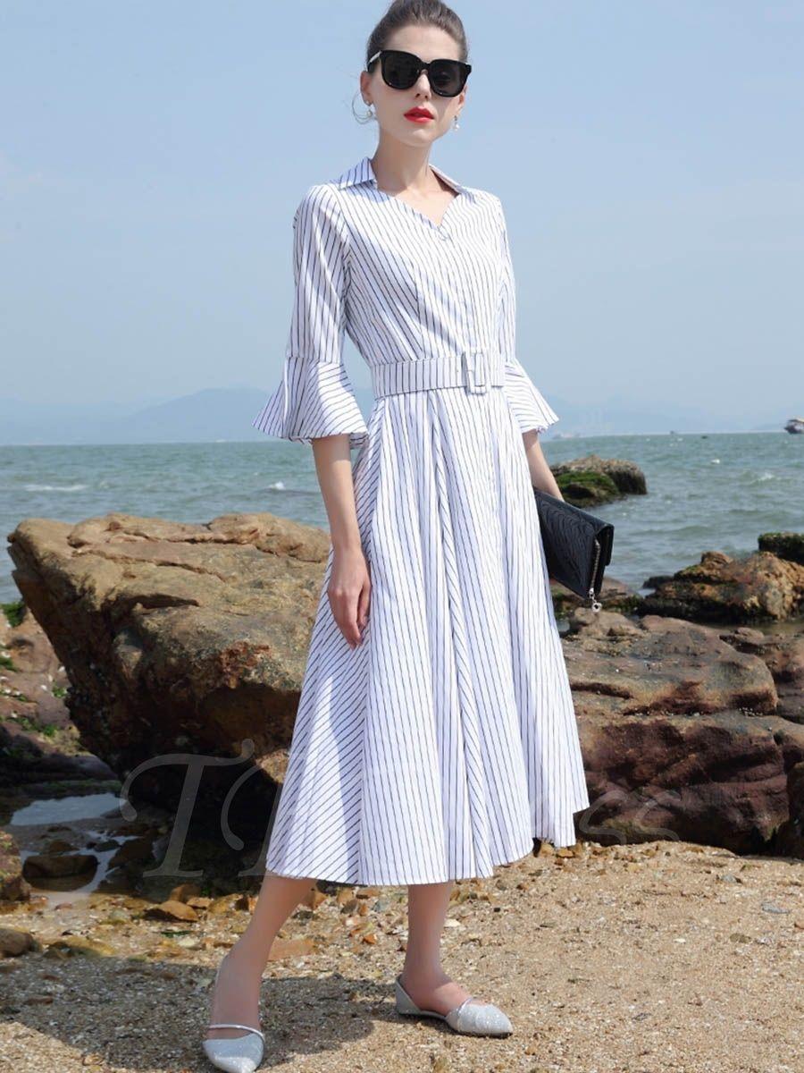Laceup bell sleeve stripe womenus maxi dress maxi dresses