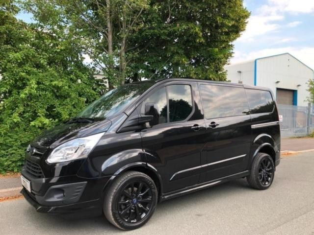 Transit Custom Crew Cab Kombi Black With Black Wheels Sport Pack Fitted Transit Custom Ford Transit Custom Campers