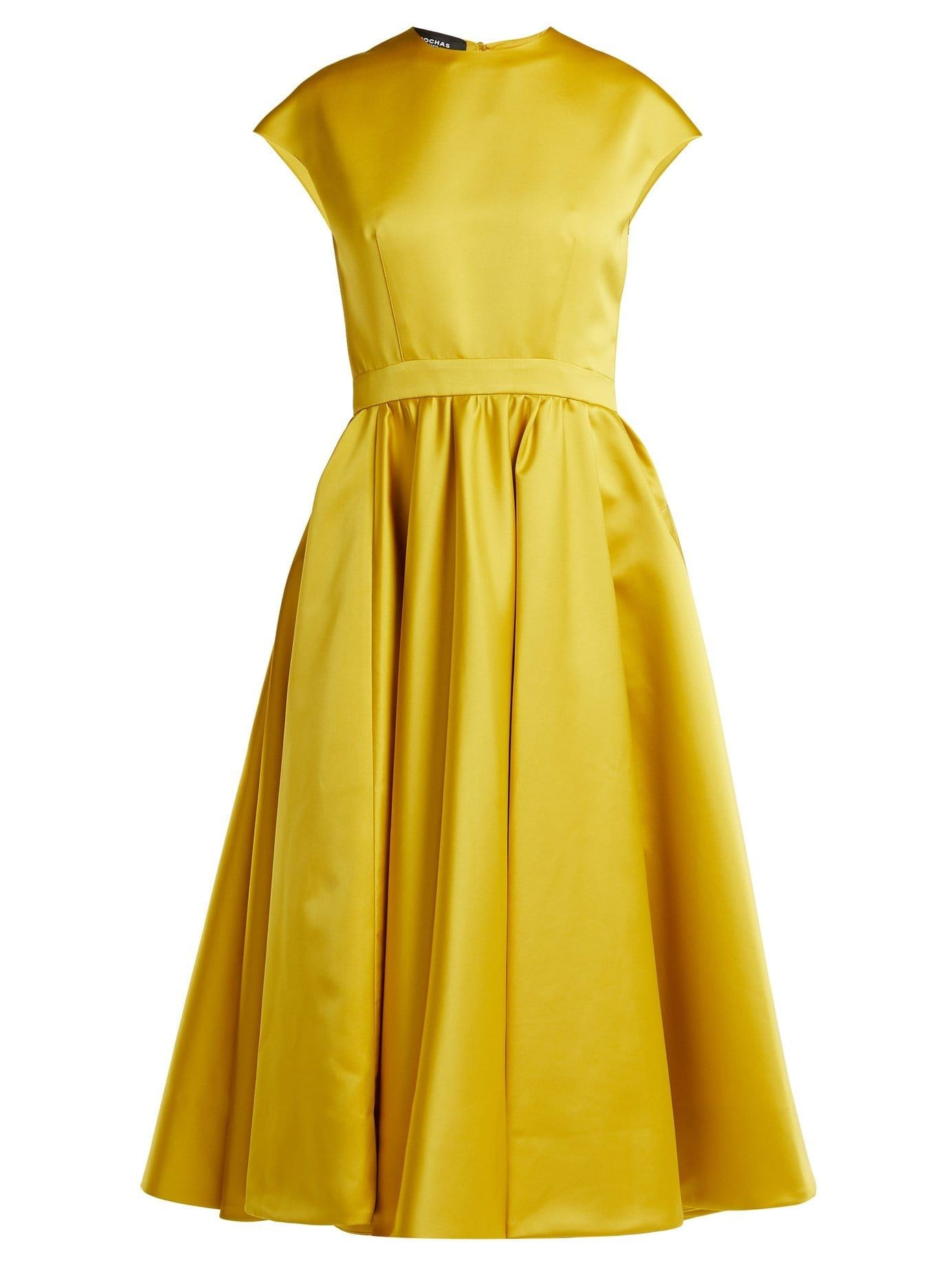 ROCHAS Duchess Satin Midi Bumblebee Yellow Dress - We Select Dresses