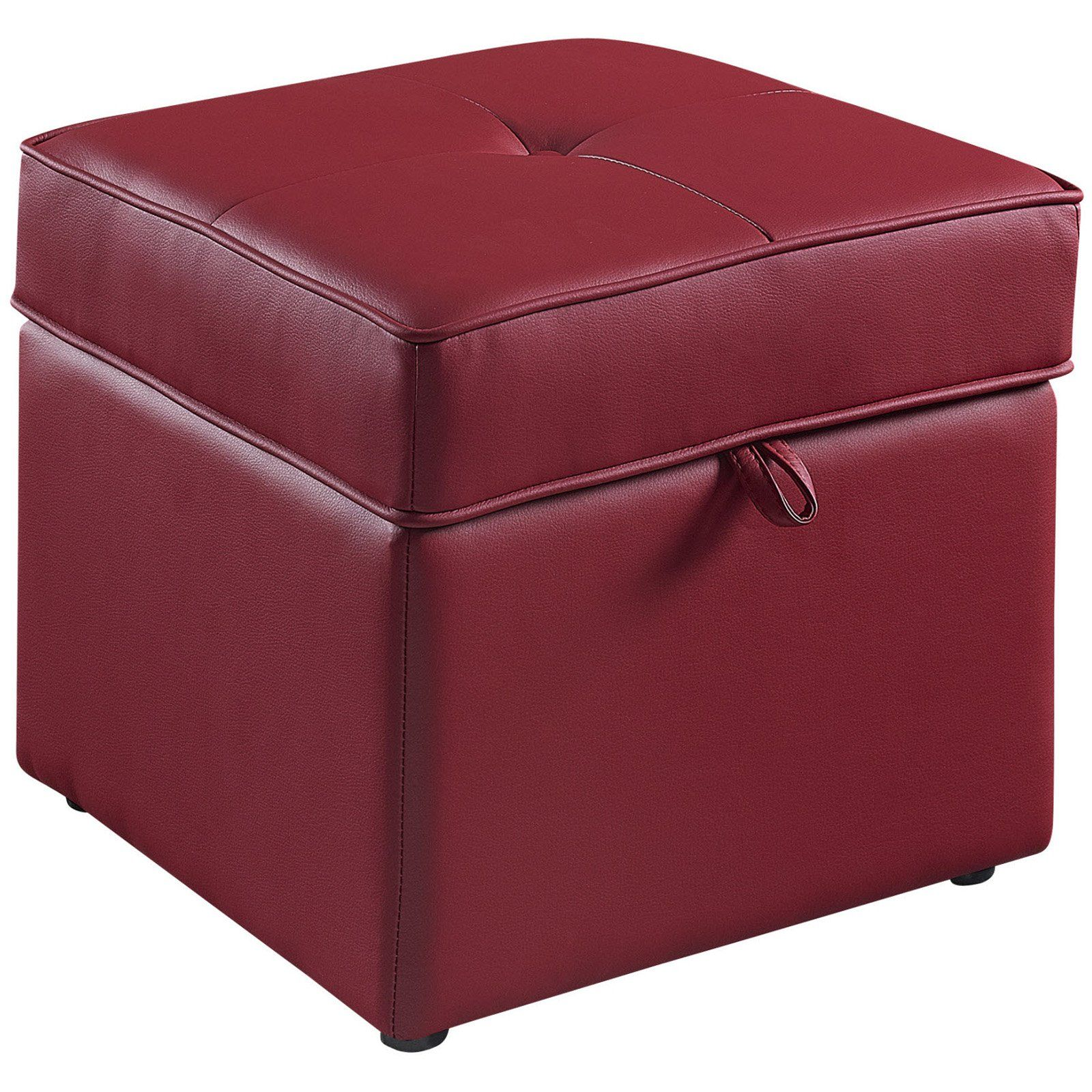 Charmant Tova Faux Leather Storage Ottoman   Crimson Red $59.98