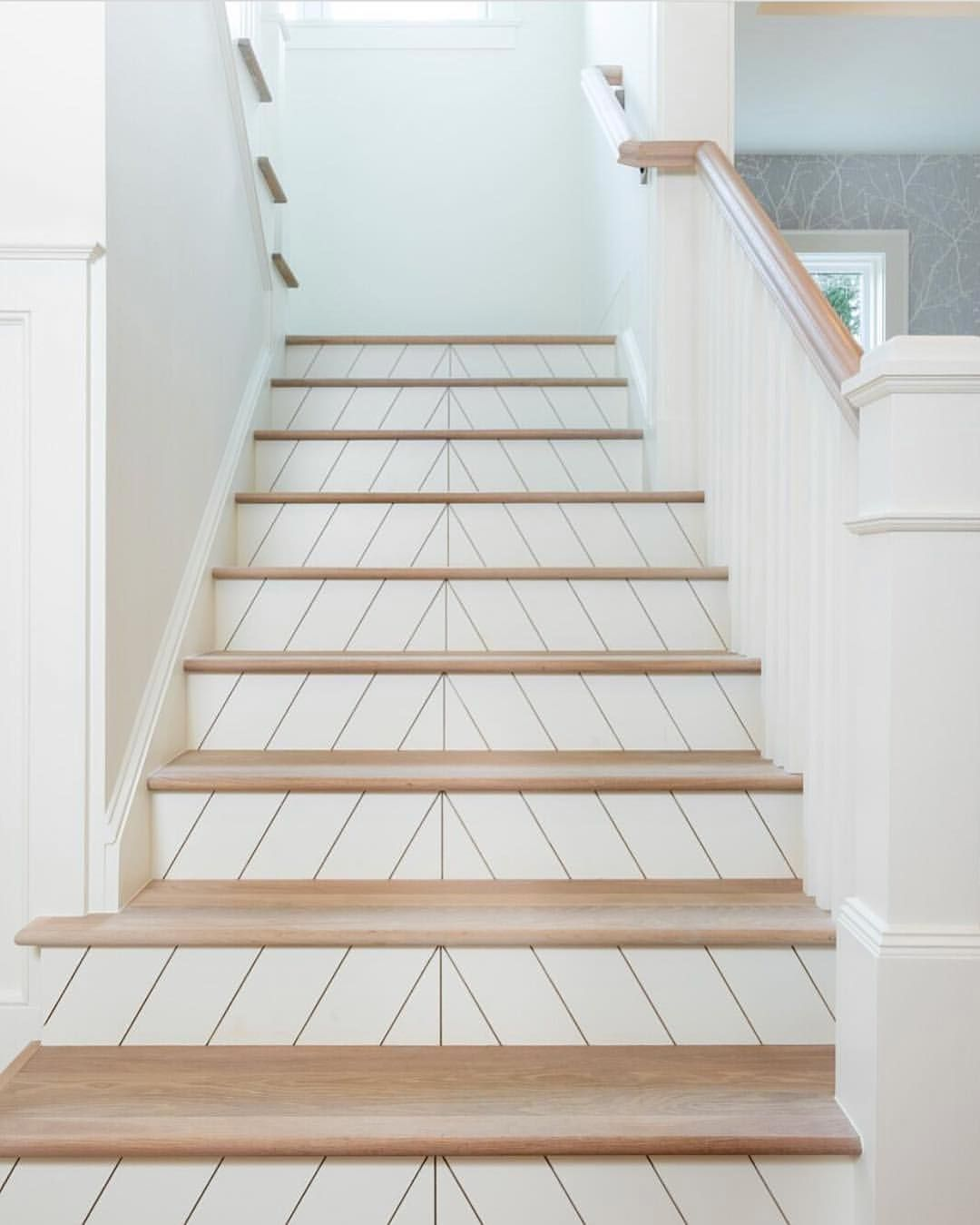 80 Awesome Modern Farmhouse Staircase Decor Ideas: I Love These Stairs @pikeproperties Did! Shiplap! So Cool