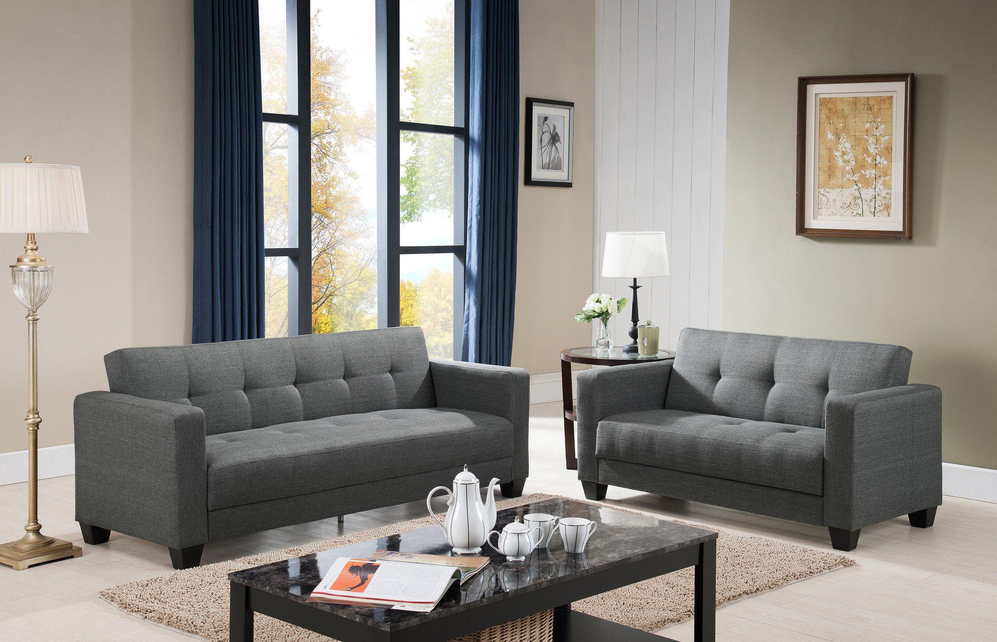 Tempo Sofa And Loveseat Set Platinum