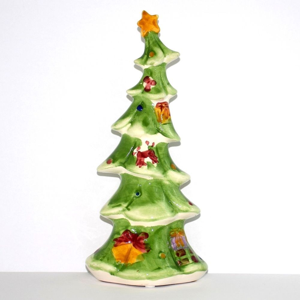 Christmas Tree Ceramic Whimsical Crooked Dr Seuss Green Holiday 9