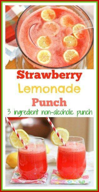 Strawberry Lemonade Punch-Non Alcoholic Punch #lemonadepunch
